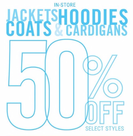 50% Off Jackets, Hoodies, Coats & Cardigans