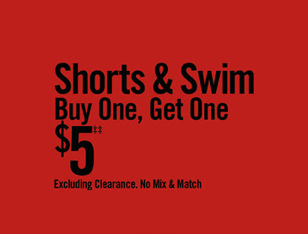 BOGO $5 Shorts & Swim at Hot Topic