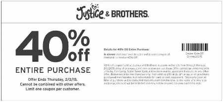 40% Off Entire Purchase at Justice & Brothers