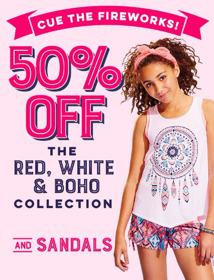 50% Off The Red, White & BOHO Collection And Sandals