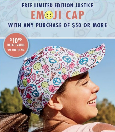 Free Limited Edition Justice Emoji Cap with Purchase