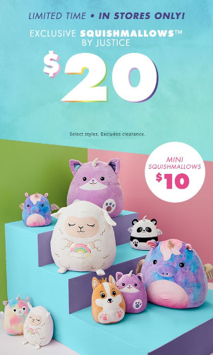 Citadel Outlets ::: $20 Squishmallows ::: Justice