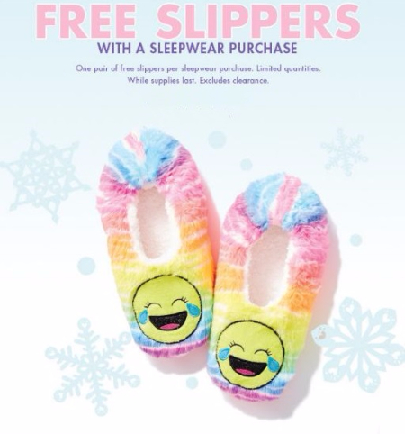 Free Slippers with a Sleepwear Purchase
