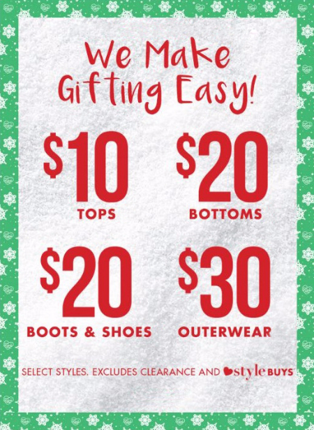 Easy Gifting from $10 Tops to $30 Coats