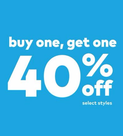 Buy One Get One 40% off