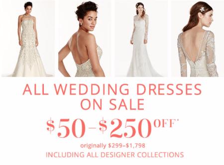 $50-$250 Off Wedding Dresses at David's Bridal