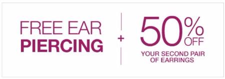 Free Ear Piercing & 50% Off 2nd Pair of Earrings