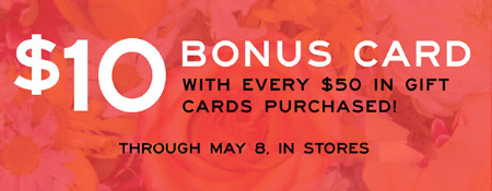 $10 Bonus Card $50 Gift Cards Purchase