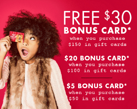 Up to $30 Free Bonus Card