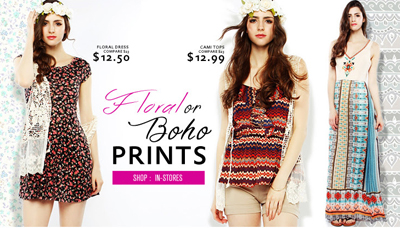 Floral or Boho Prints at Papaya