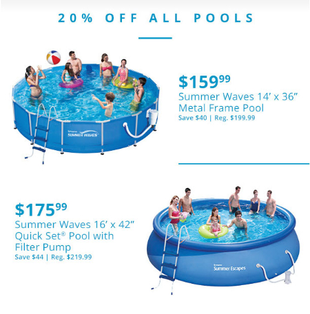 20% Off All Pools