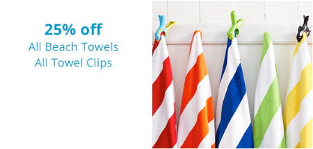 25% Off Beach Towels & Towel Clips