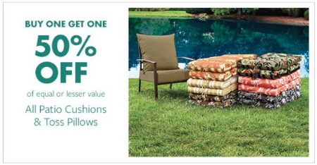 Shop in store and enjoy buy one get one 50% off on all patio cushions and  toss pillows. - Reisterstown Road Plaza :: BOGO 50% Off All Patio Cushions & Toss