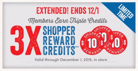 Members Earn Triple Shopper Reward Credits