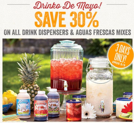 30% Off Drink Dispensers & Aguas Frescas Mixes
