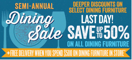 Up to 50% Off Demi-Annual Dining Sale