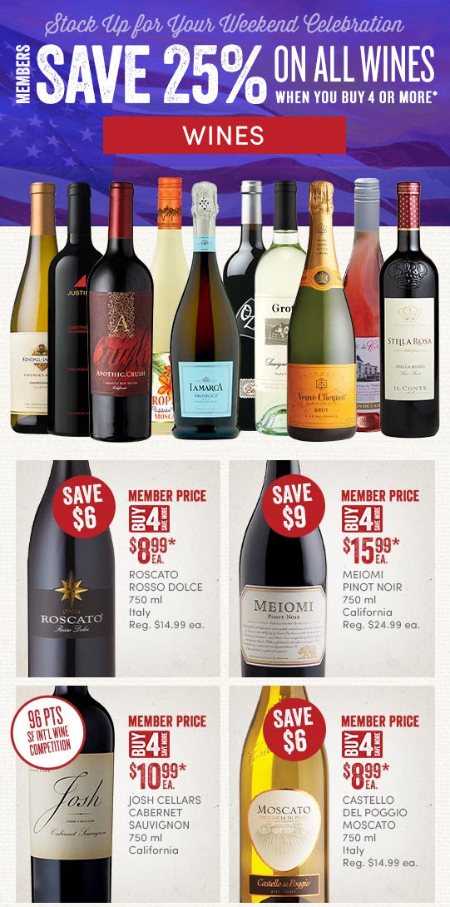 Members Save 25% Off All Wines