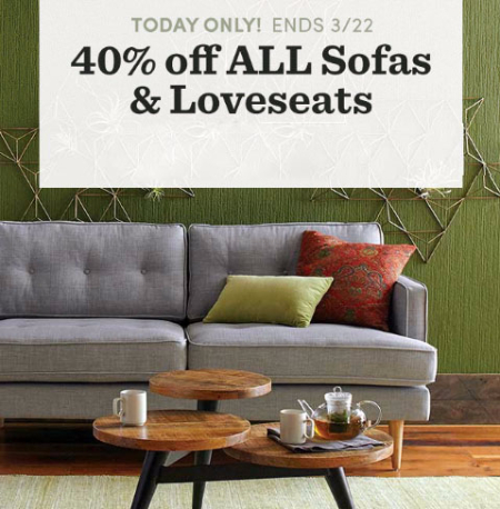40% Off All Sofas & Loveseats