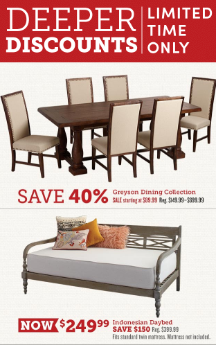 Deeper Discounts on Select Furniture