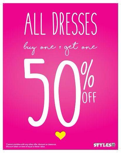 All Dresses BOGO 50% Off