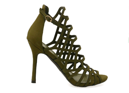 Sylvia-11W Olive Caged Single Sole High Heels