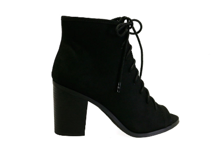 Hush-H Black Suede Lace Up Chunky Heel Peep Toe Ankle Booties